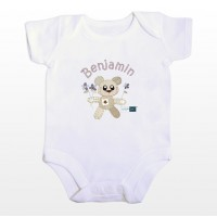 Personalised Cotton Zoo Boys Tweed the Bear 0-3 Months Baby Vest